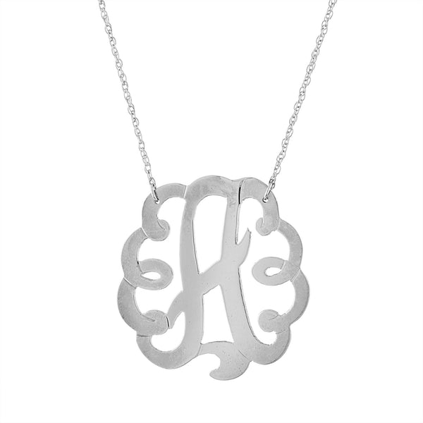 "Sterling silver 1.25"" fancy scroll single initial necklace"