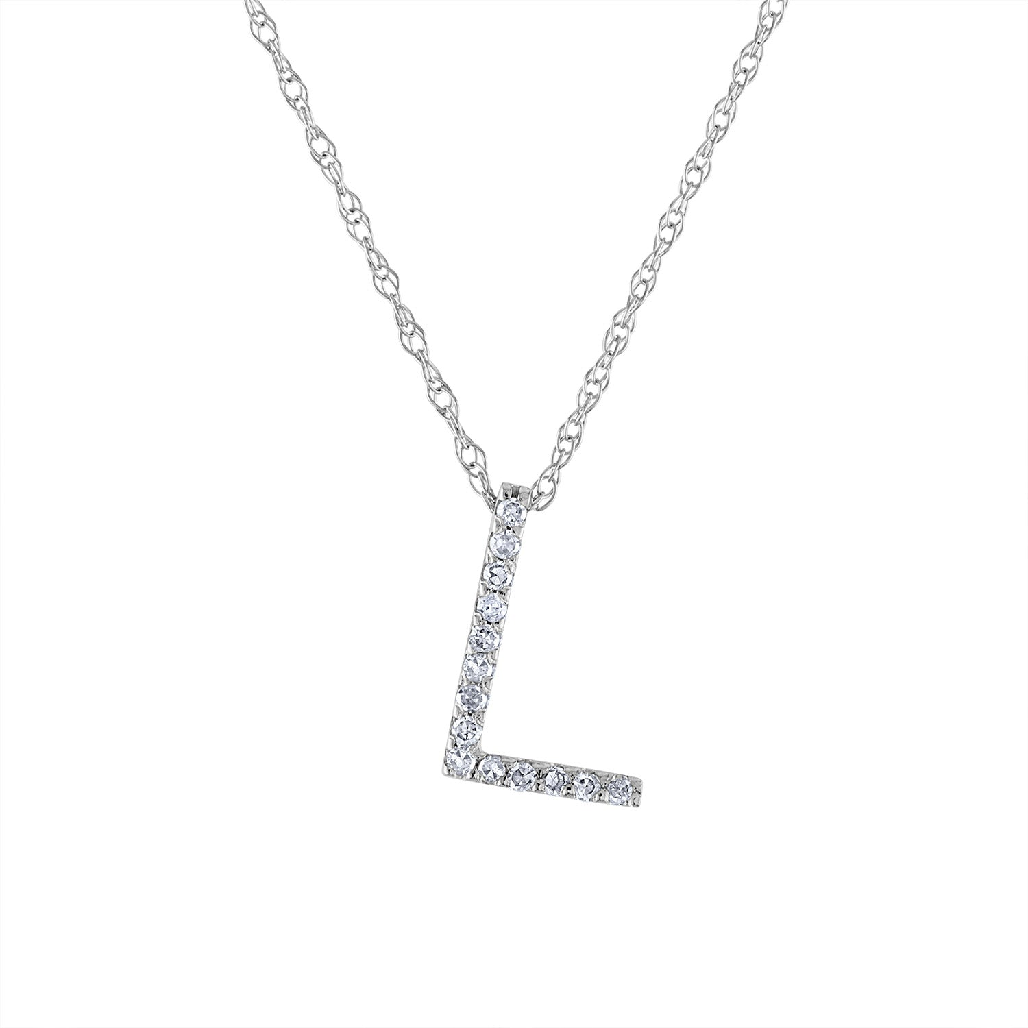 14k White Gold diamond initial L necklace