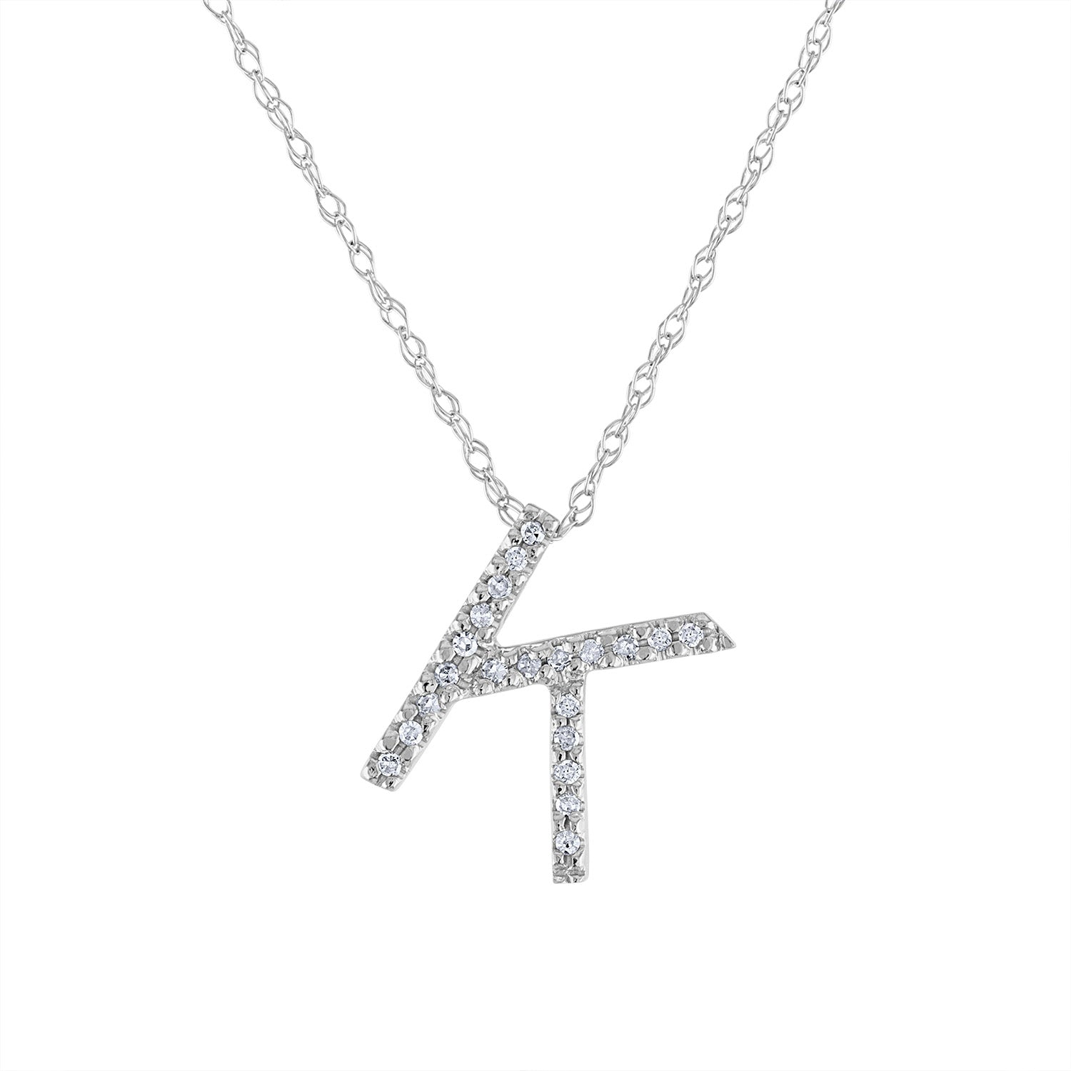 14k White Gold diamond initial K necklace