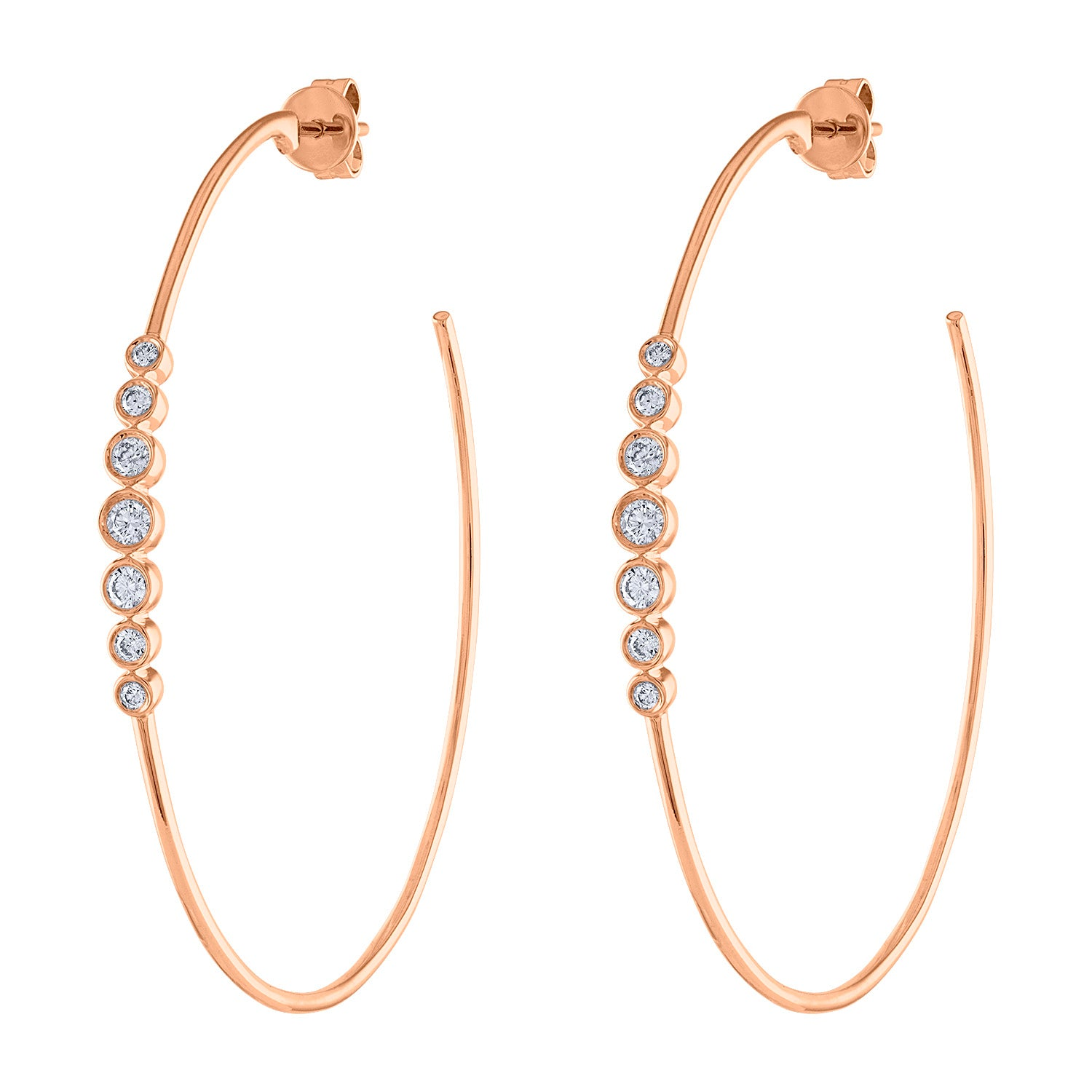 14k Rose Gold diamond 7 bezel large hoop earring