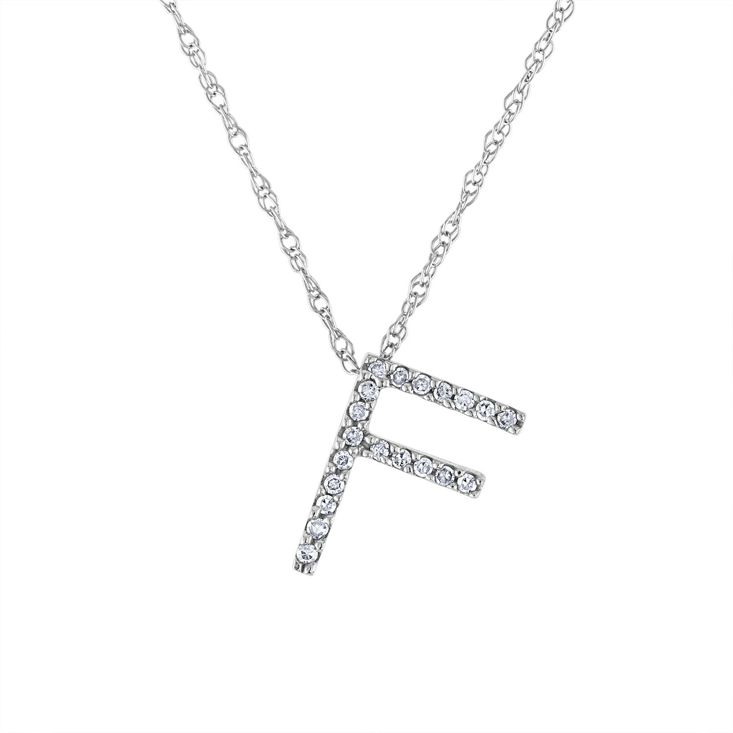 14k White Gold diamond initial F necklace