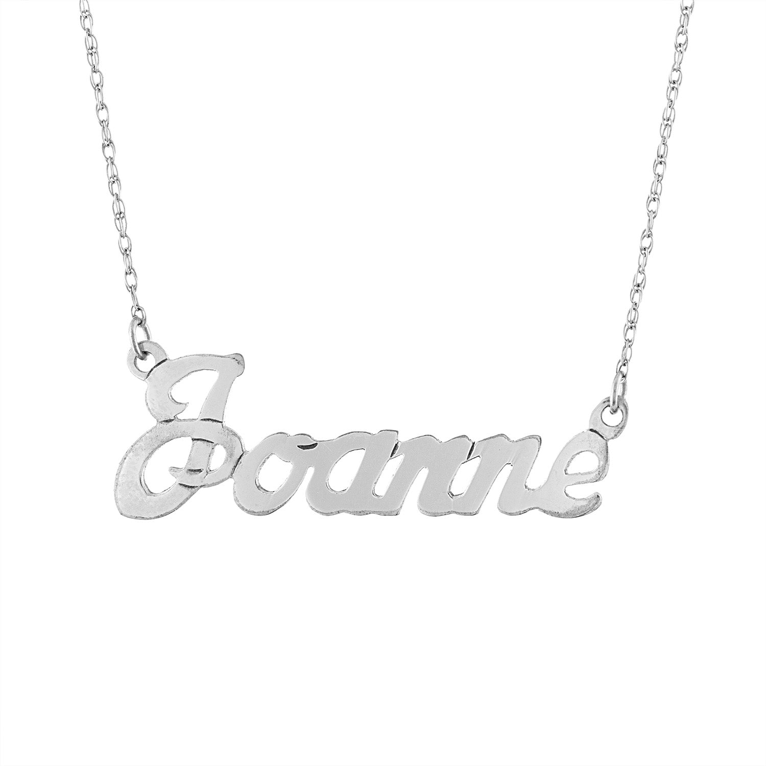 Sterling Silver script name rope necklace