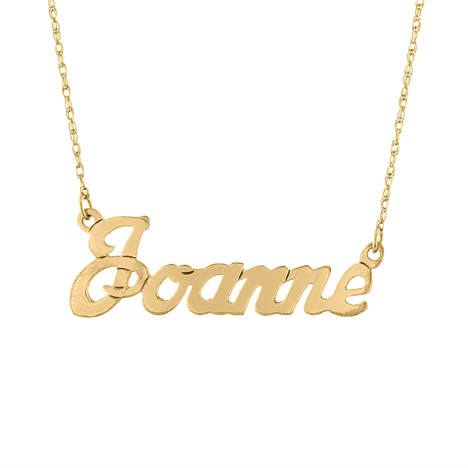 Gold Filled script name rope necklace