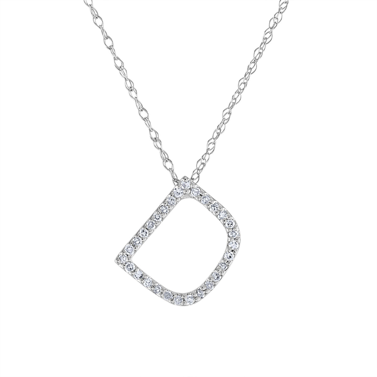 14k White Gold diamond initial D necklace