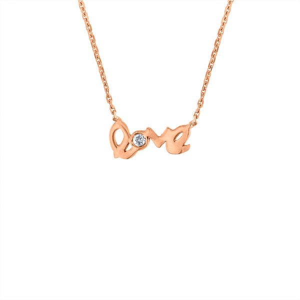 14KT GOLD DIAMOND MINI LOVE NECKLACE