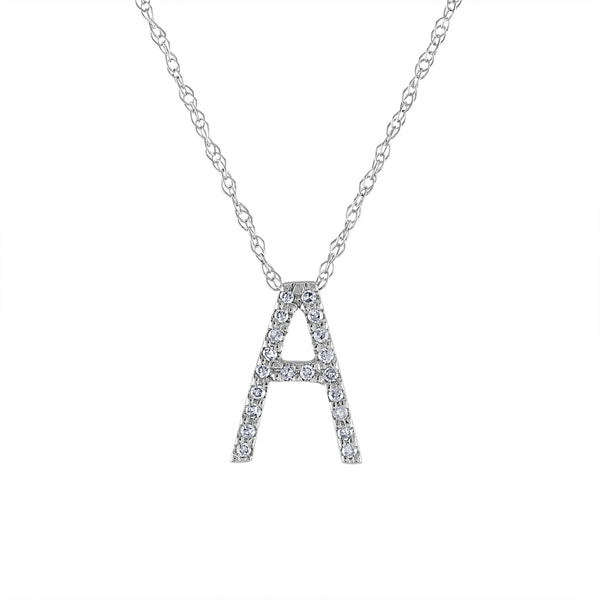 14k White Gold diamond initial A necklace