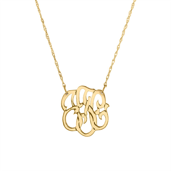 "Gold Filled 3/4"" script monogram necklace"