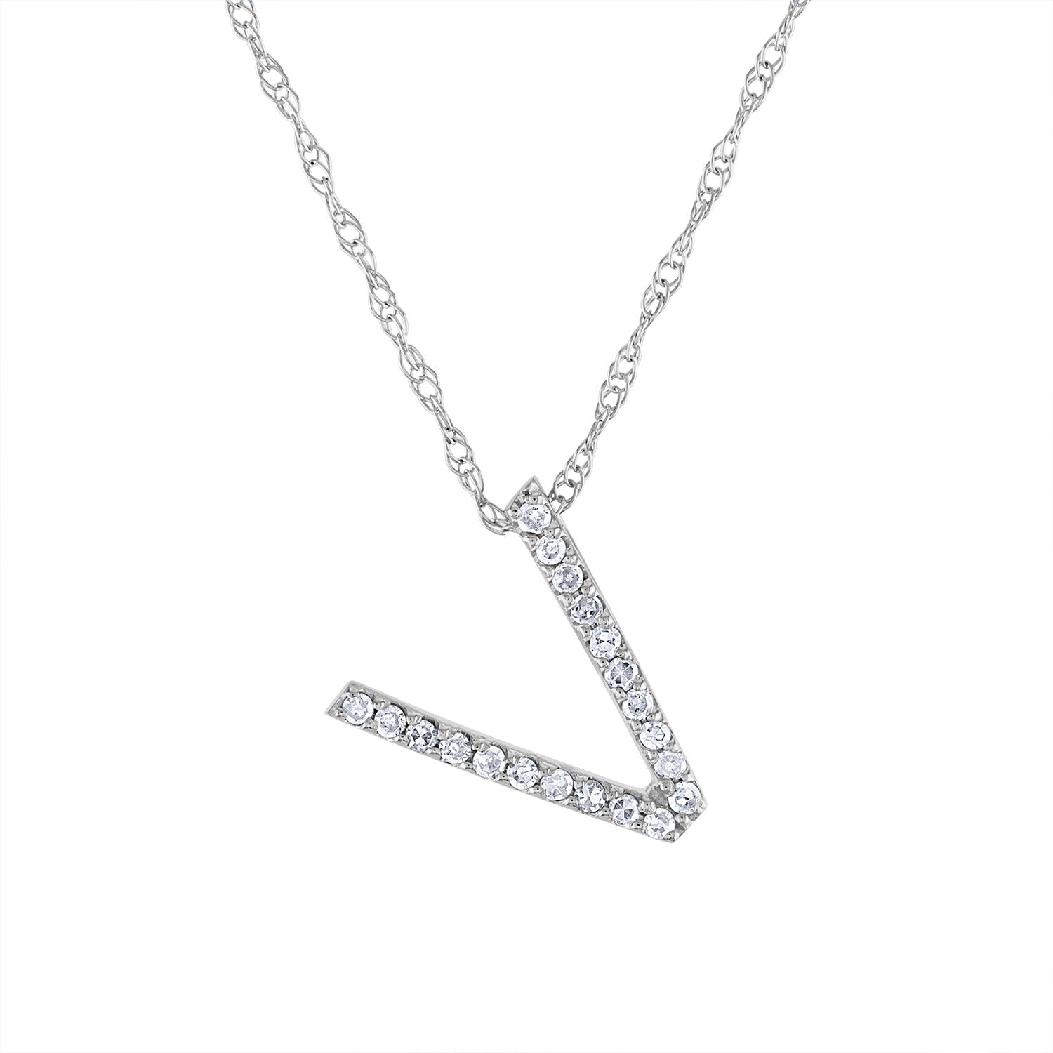14k White Gold diamond initial V necklace