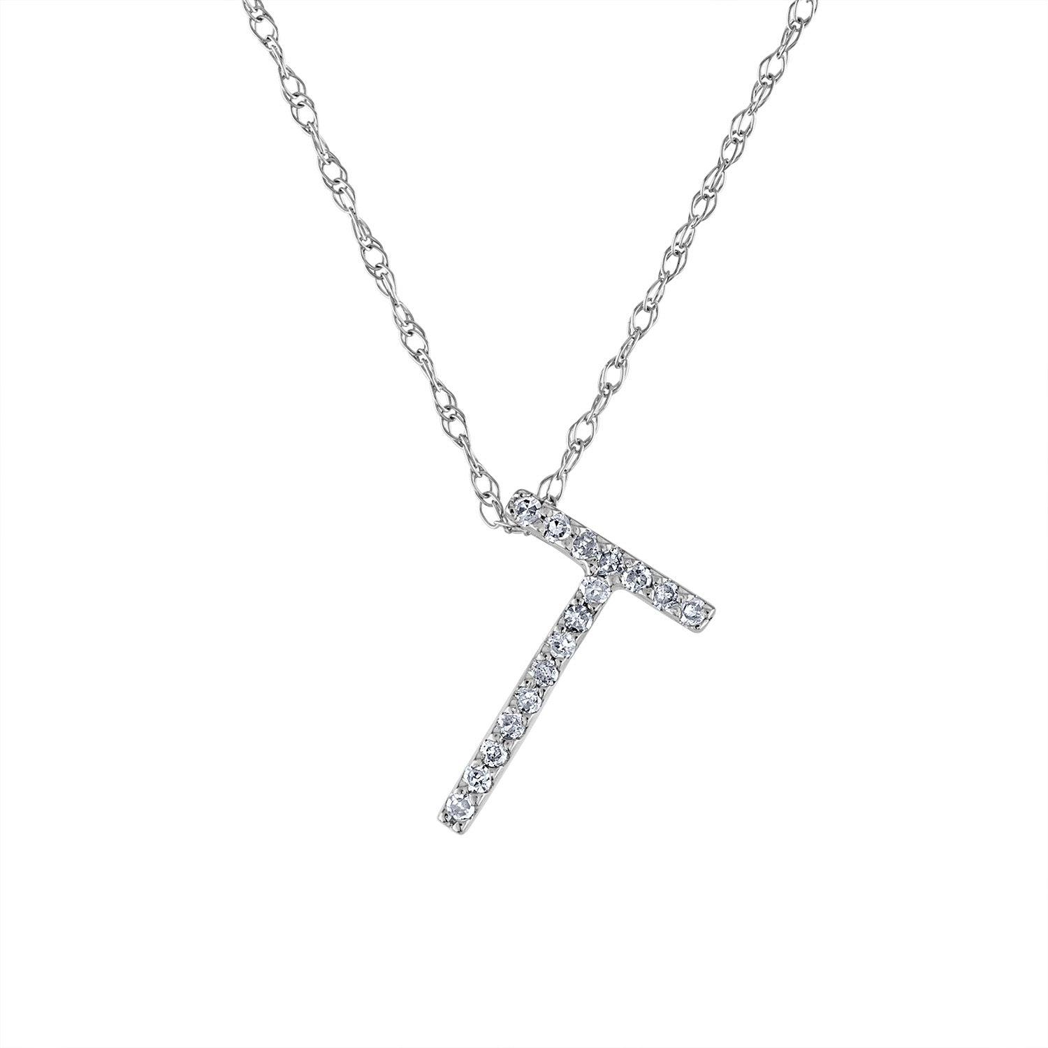 14k White Gold diamond initial T necklace