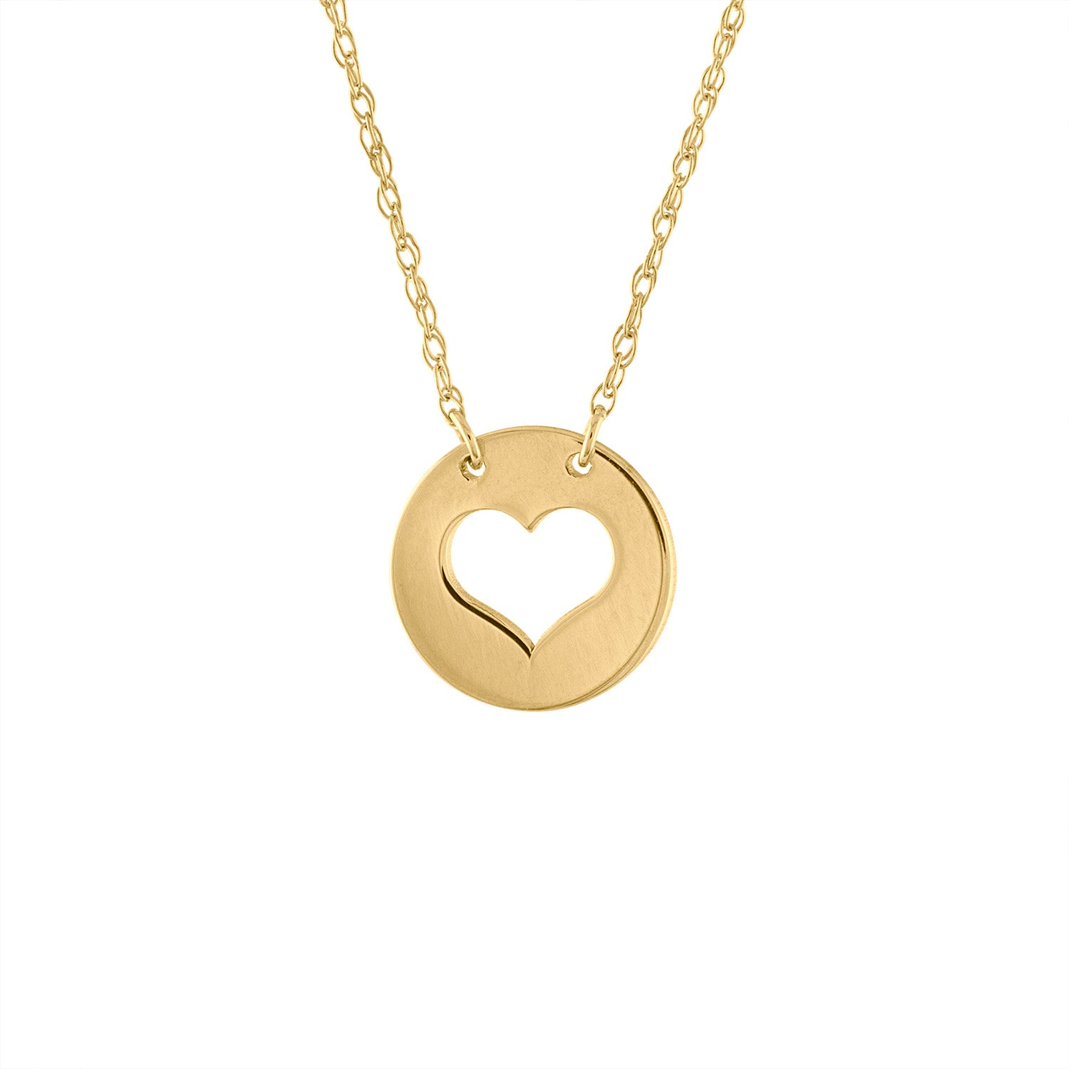 14KT GOLD CUT OUT HEART DISK NECKLACE