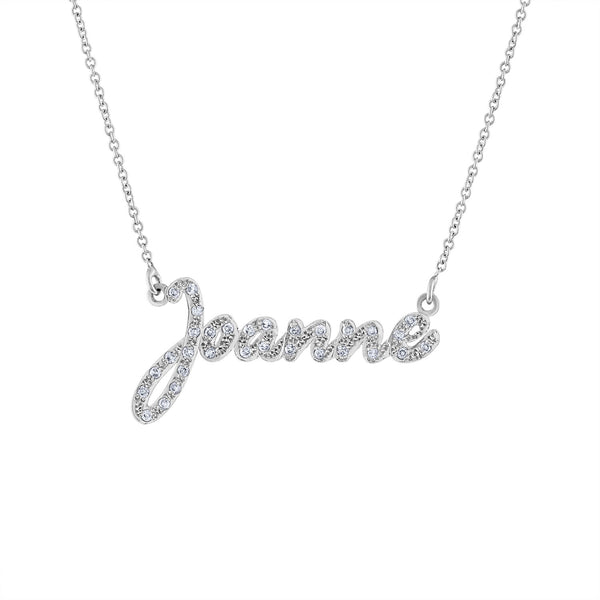 14K White Gold diamond script name necklace