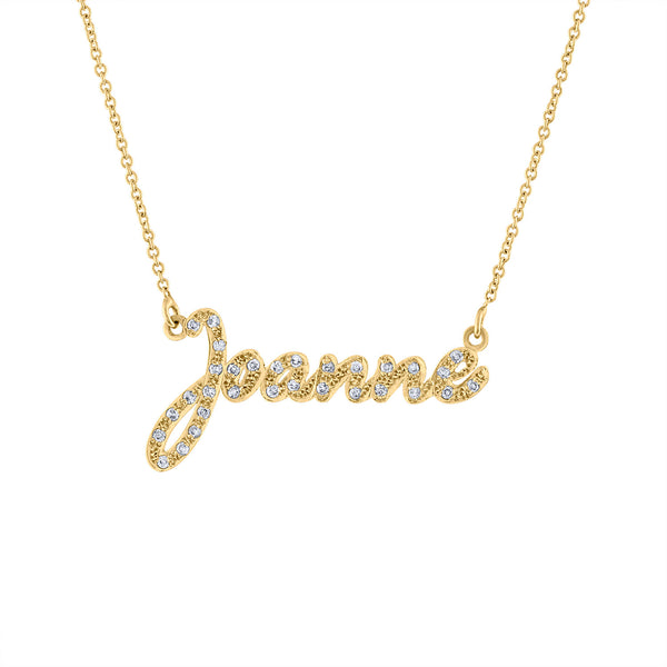 14K Yellow Gold diamond script name necklace