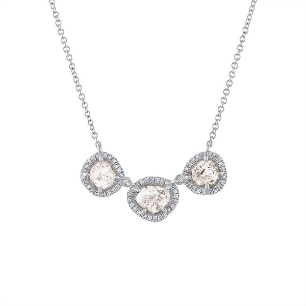14KT GOLD THREE SLICE DIAMOND NECKLACE