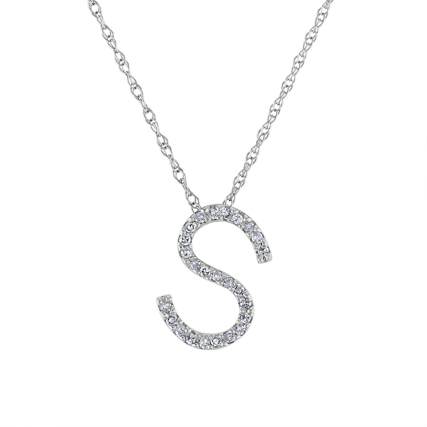 14k White Gold diamond initial S necklace