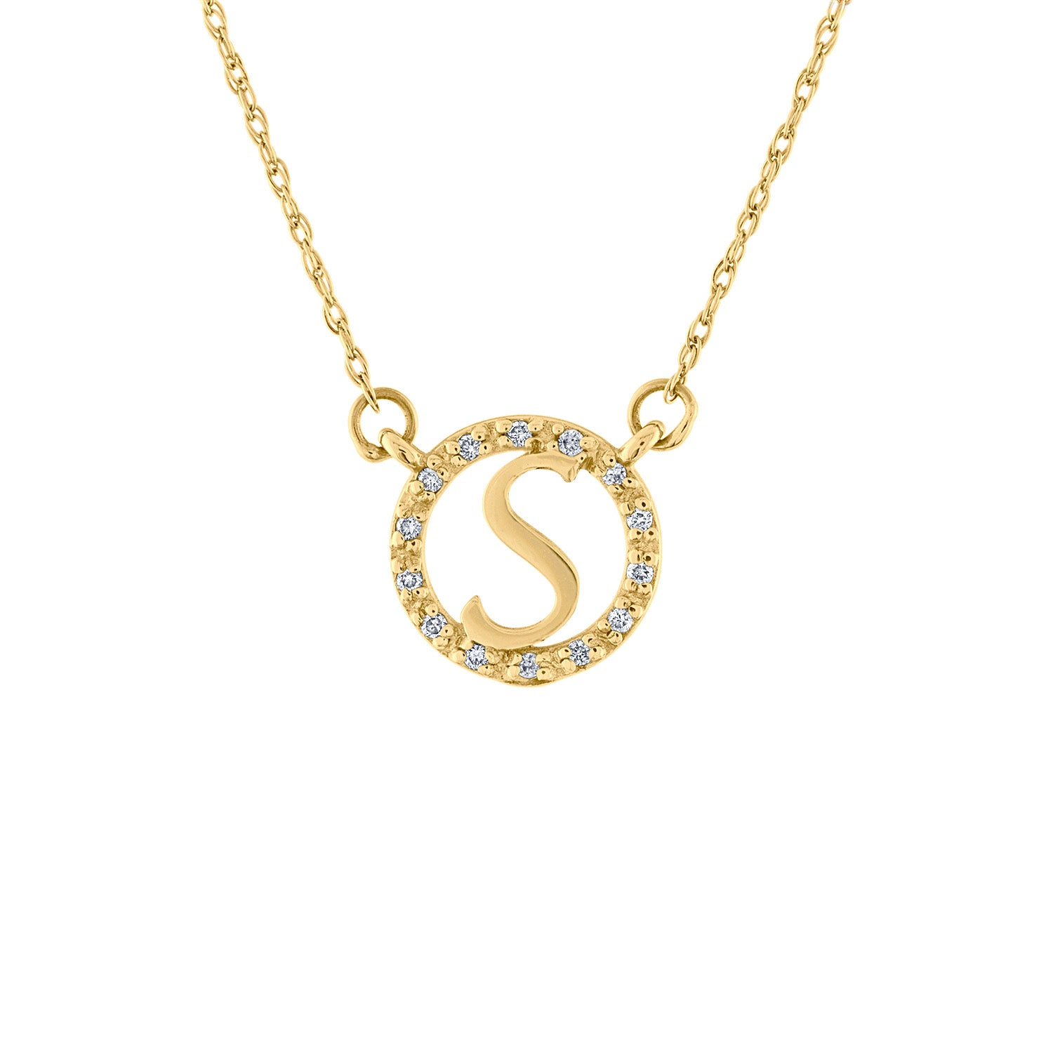 14KT GOLD DIAMOND BORDER INITIAL NECKLACE
