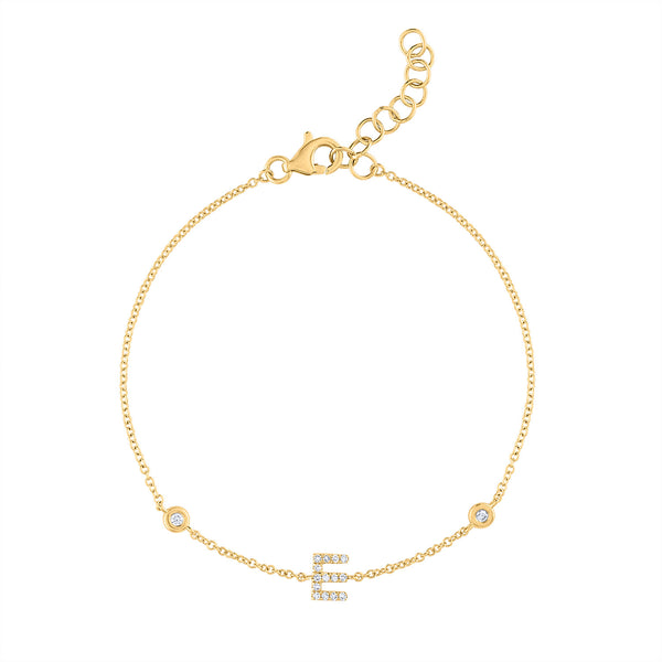14KT GOLD DIAMOND INITIAL AND BEZEL SET DIAMOND BRACELET