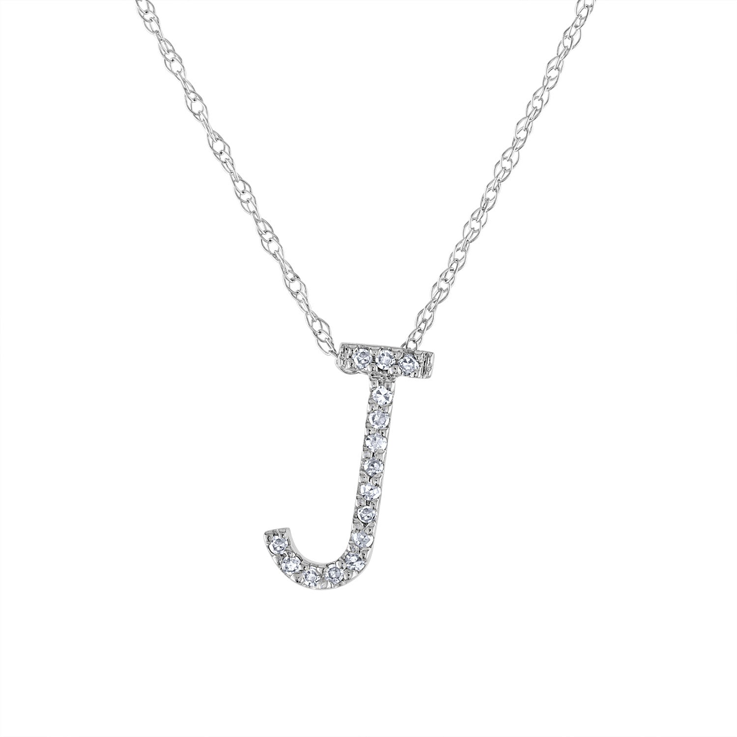 14k White Gold diamond initial J necklace
