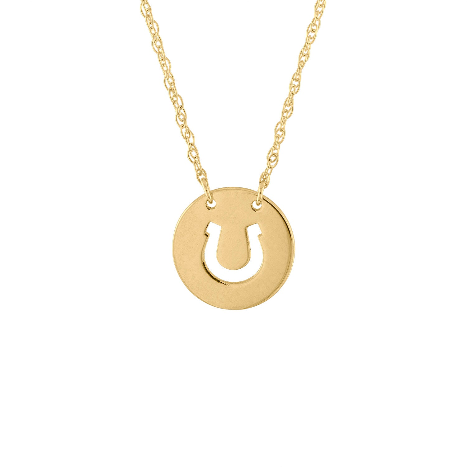 14KT GOLD CUT OUT HORSESHOE DISK NECKLACE