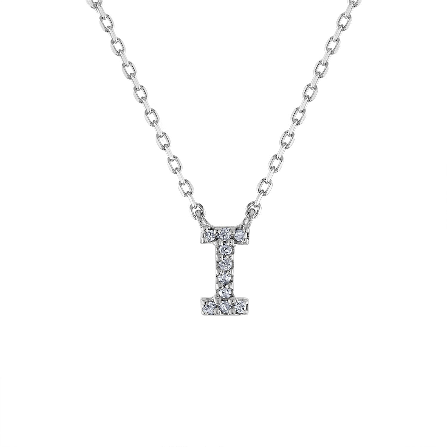 Sterling Silver diamond mini I initial necklace