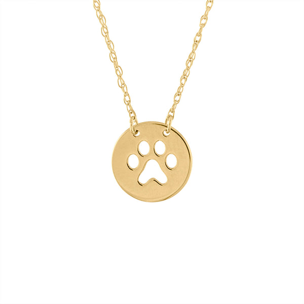 14KT GOLD CUT OUT PAW PRINT DISK NECKLACE
