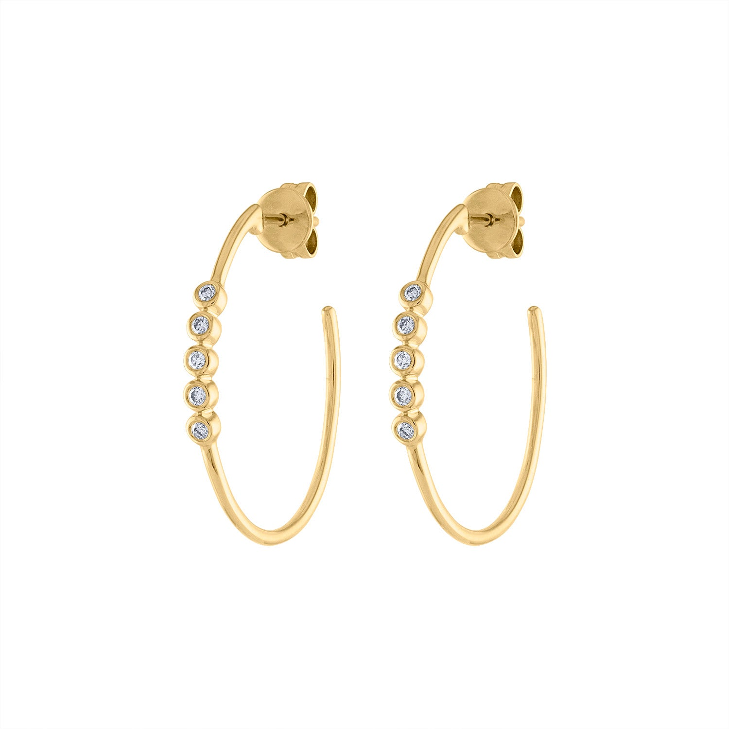 14KT GOLD DIAMOND FIVE BEZEL SET SMALL HOOP EARRING
