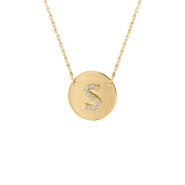 14KT GOLD DIAMOND INITIAL DISK NECKLACE