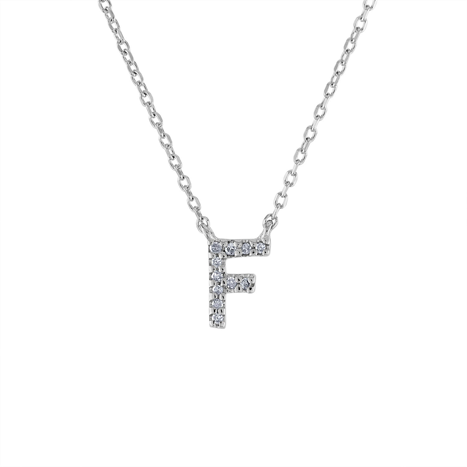 Sterling Silver diamond mini F initial necklace