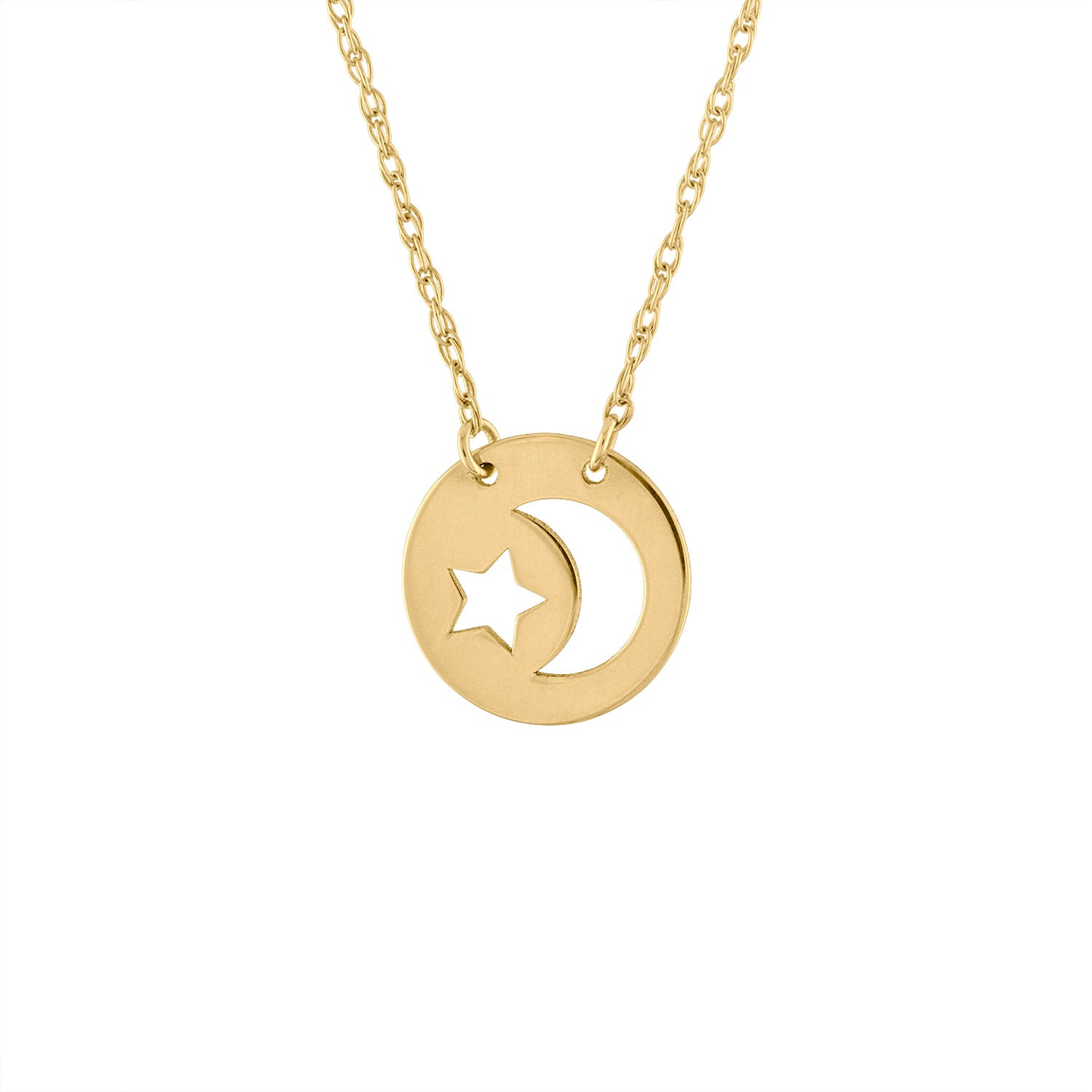 14KT GOLD CUT OUT STAR MOON DISK NECKLACE