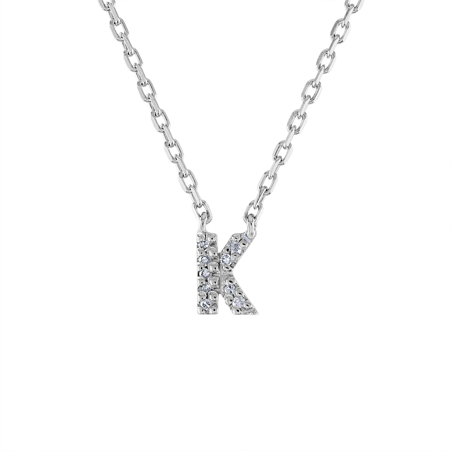 Sterling Silver diamond mini K initial necklace