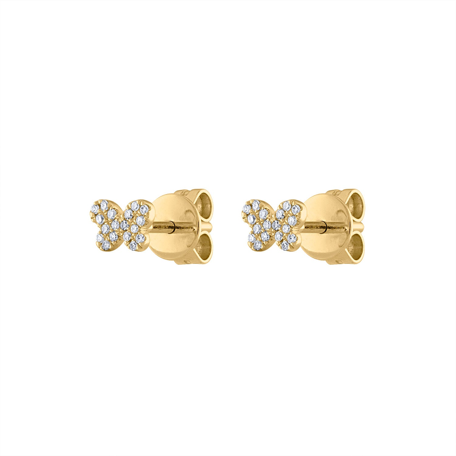 14KT GOLD MINI PAVE DIAMOND BUTTERFLY EARRING