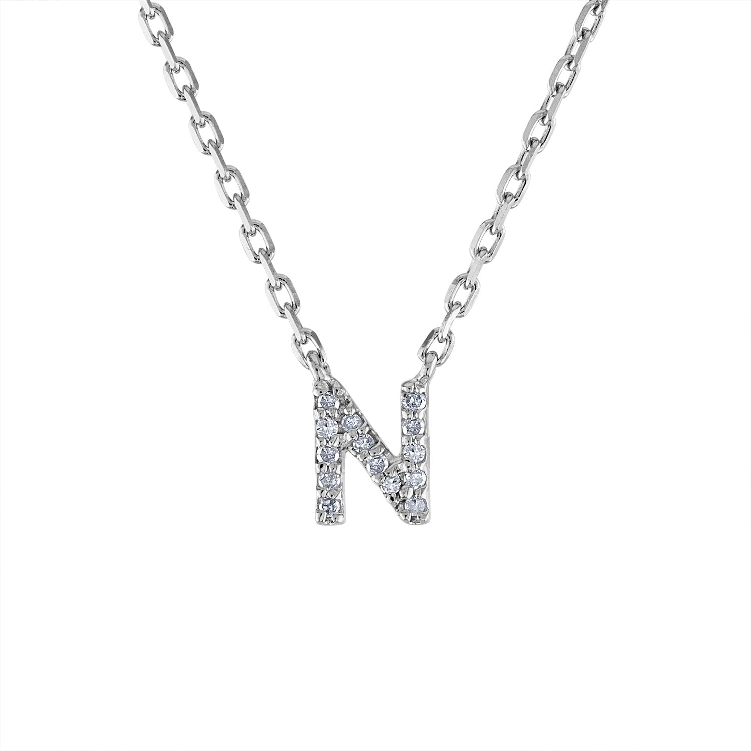 Sterling Silver diamond mini N initial necklace