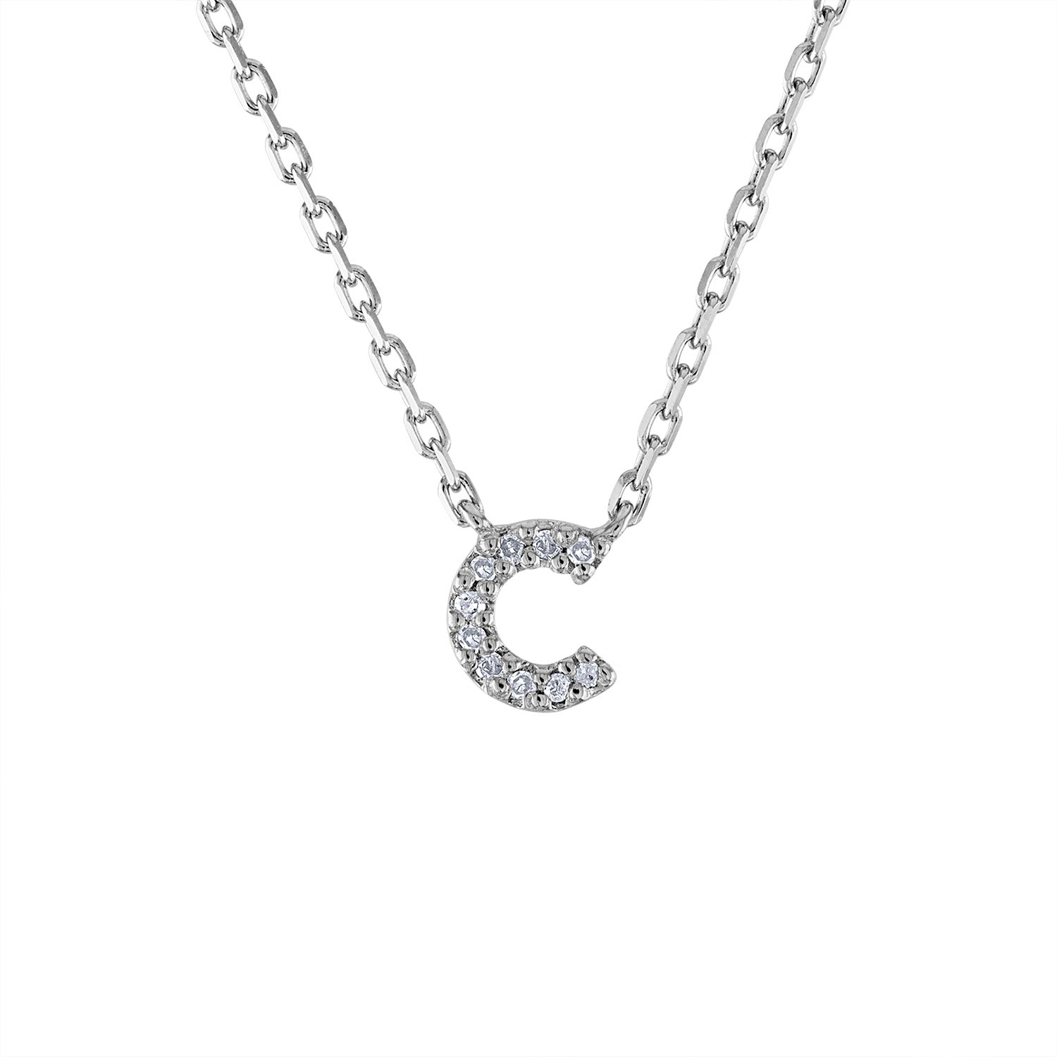 Sterling Silver diamond mini C initial necklace