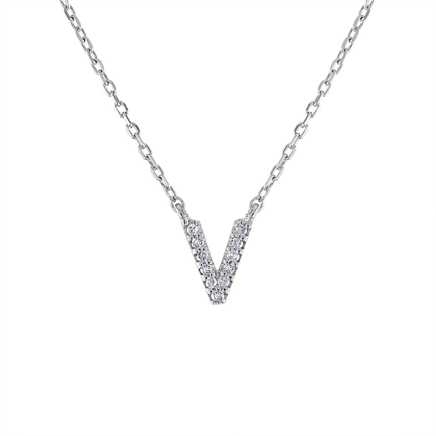 Sterling Silver diamond mini V initial necklace