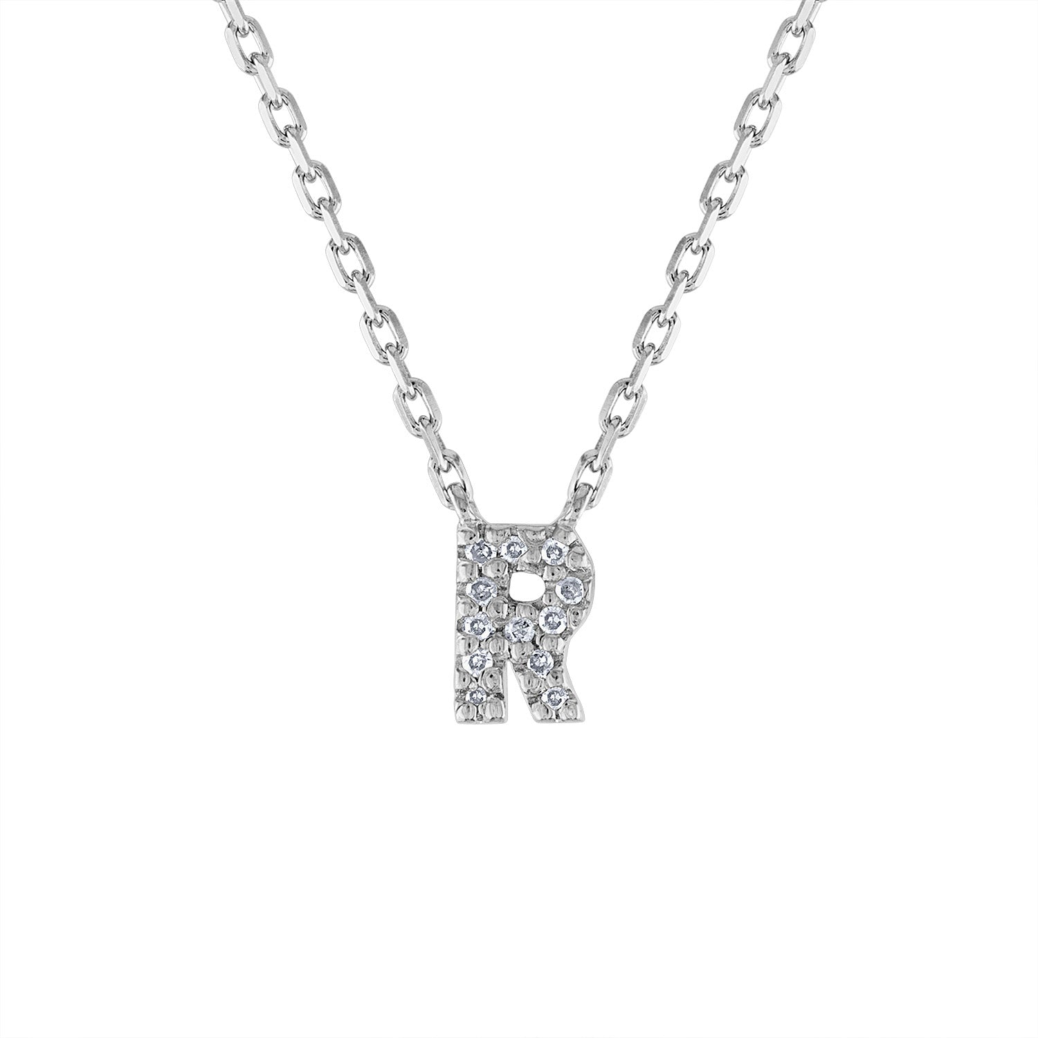 Sterling Silver diamond mini R initial necklace