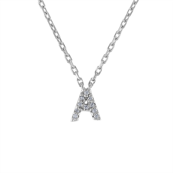 Sterling Silver diamond mini A initial necklace
