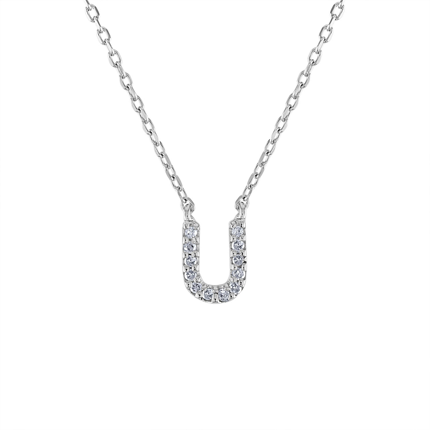 Sterling Silver diamond mini U initial necklace