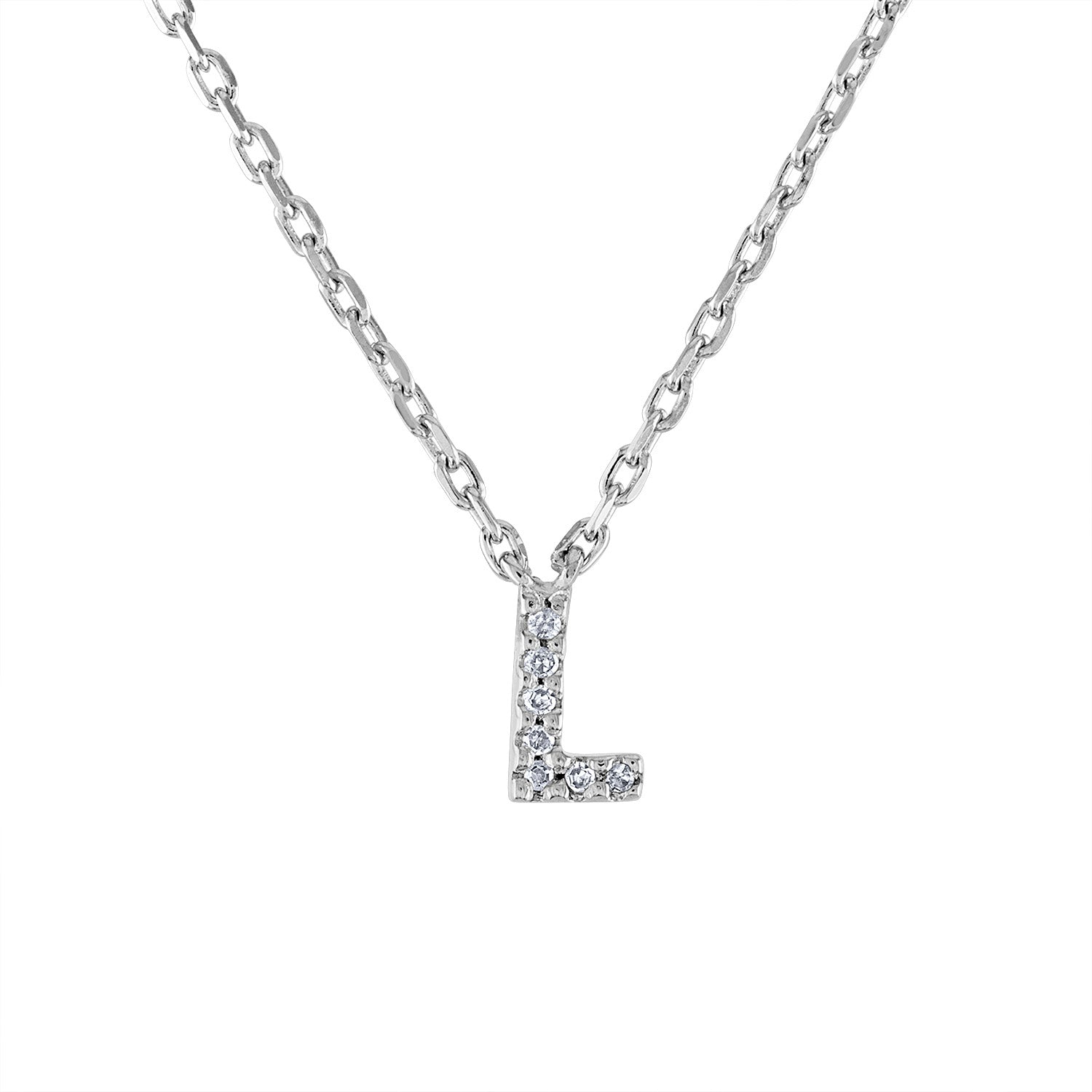 Sterling Silver diamond mini L initial necklace