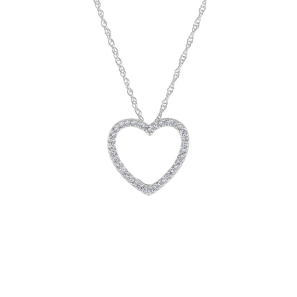 14KT GOLD DIAMOND OPEN HEART NECKLACE