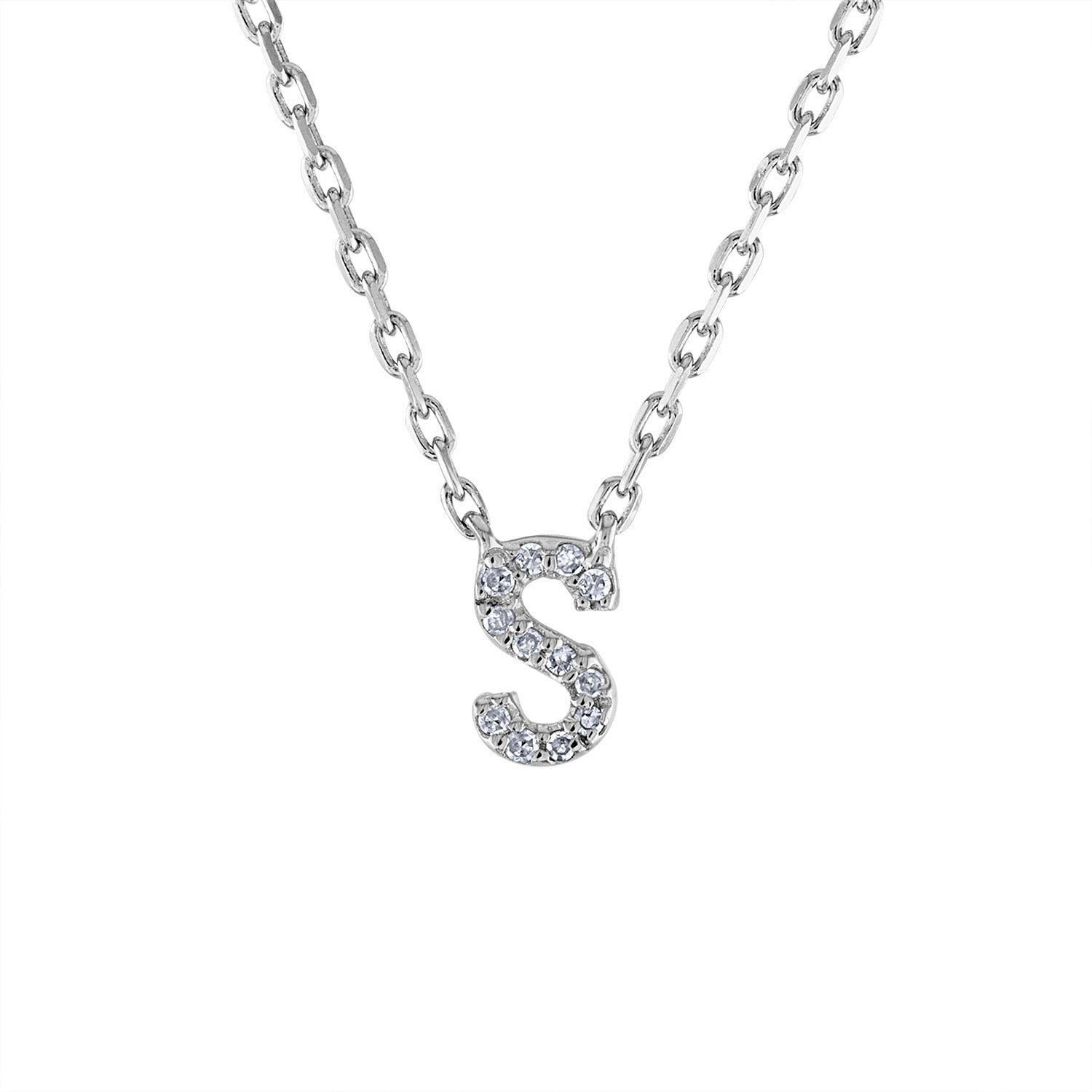 Sterling Silver diamond mini S initial necklace