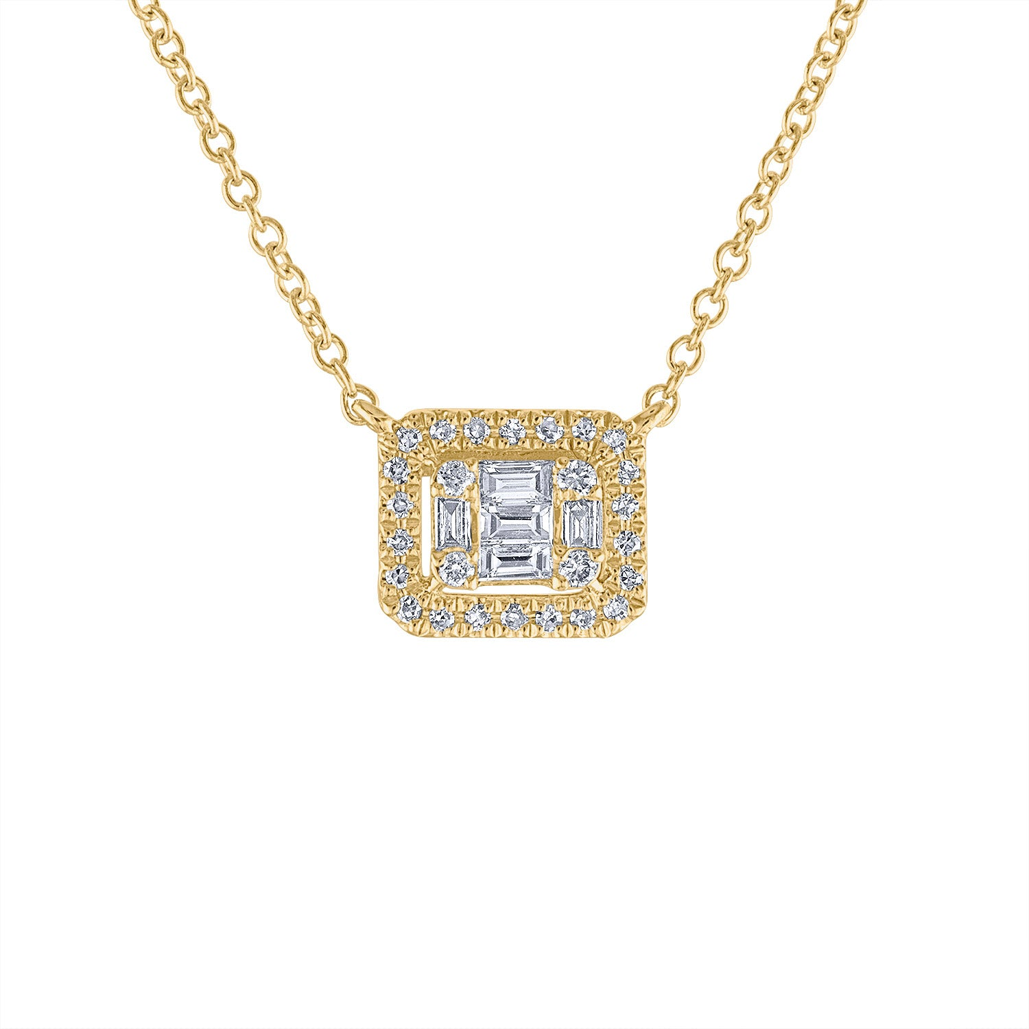 14KT GOLD SMALL DIAMOND BAGUETTE RECTANGLE NECKLACE