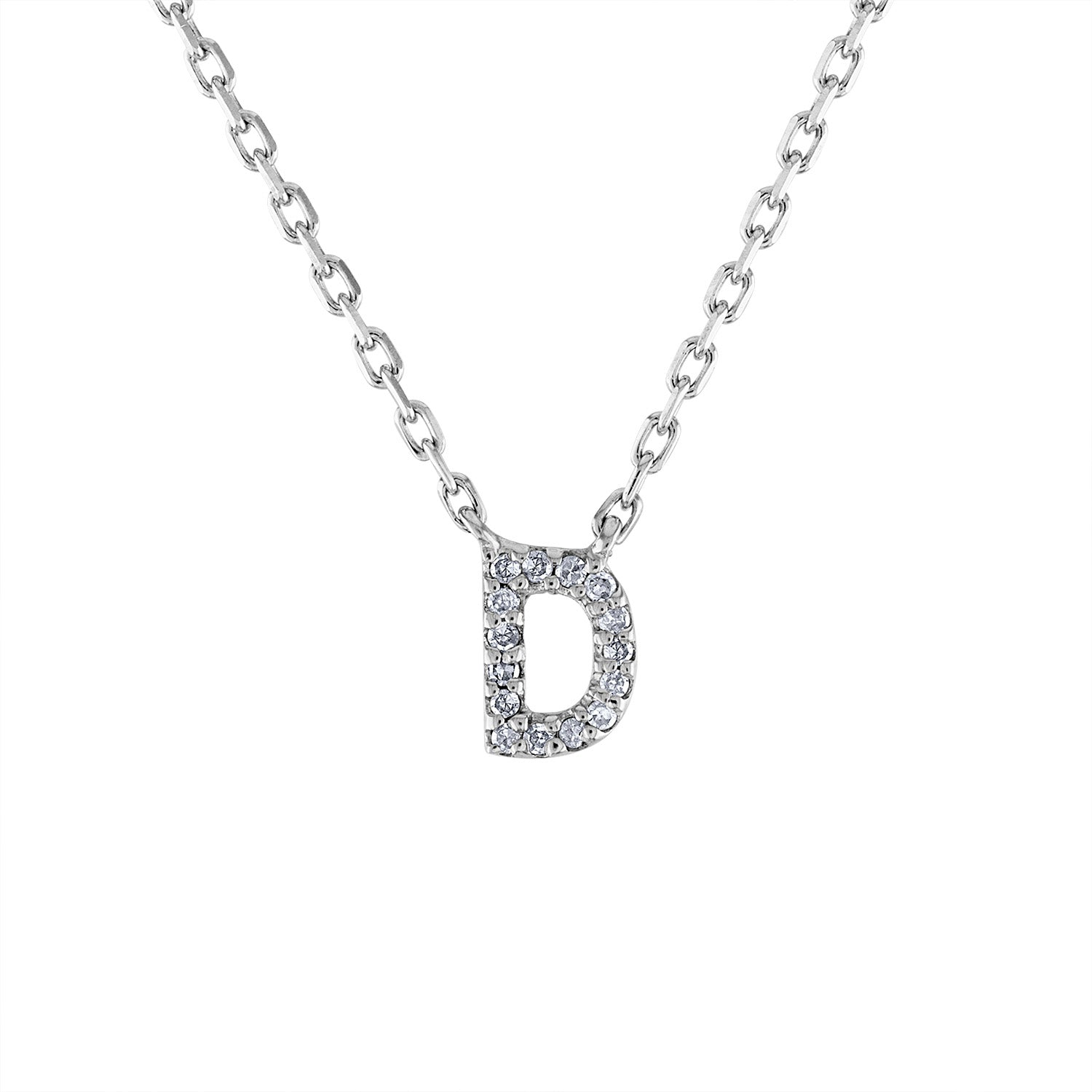 Sterling Silver diamond mini D initial necklace