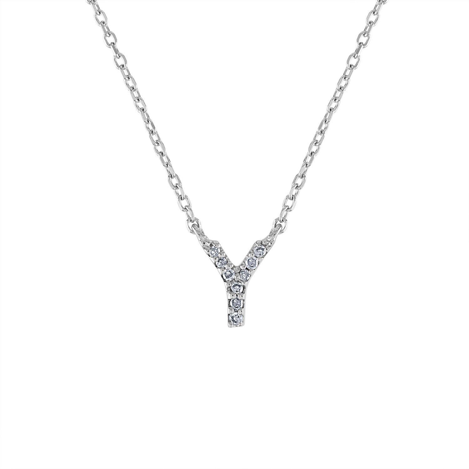 Sterling Silver diamond mini Y initial necklace