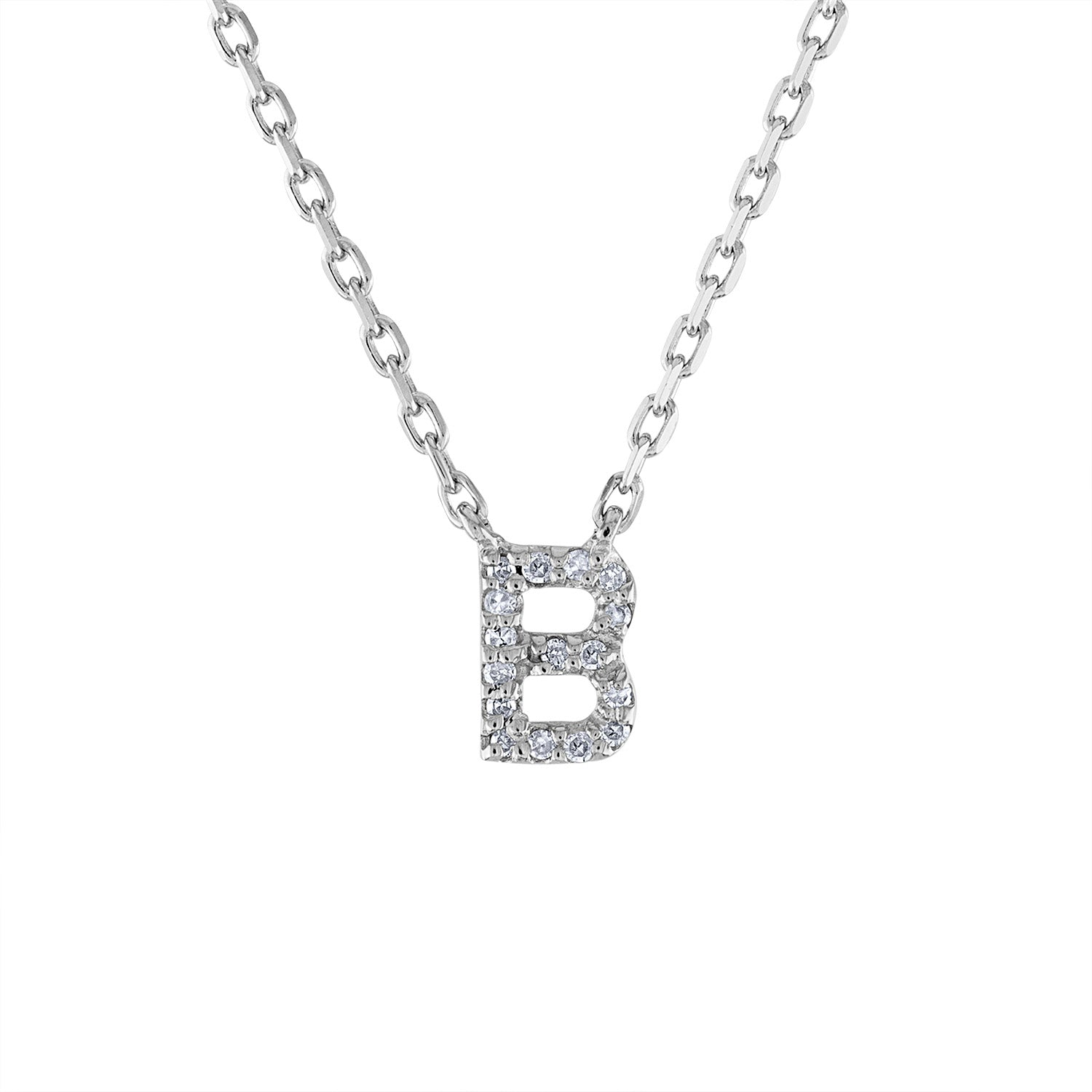 Sterling Silver diamond mini B initial necklace