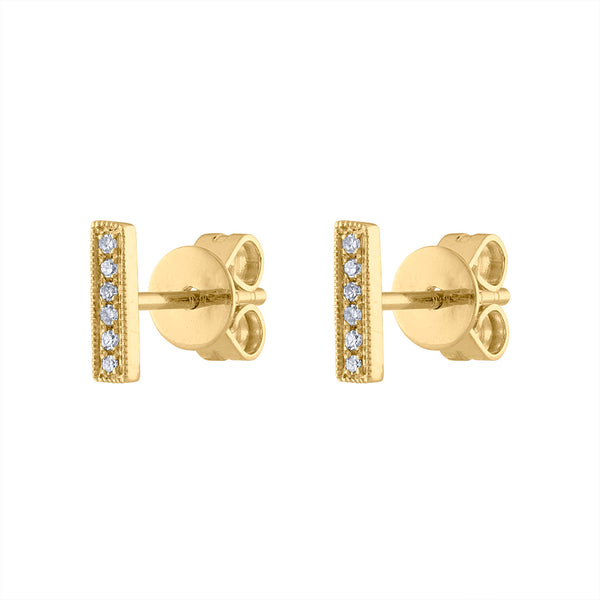 14KT GOLD DIAMOND MINI BAR EARRING