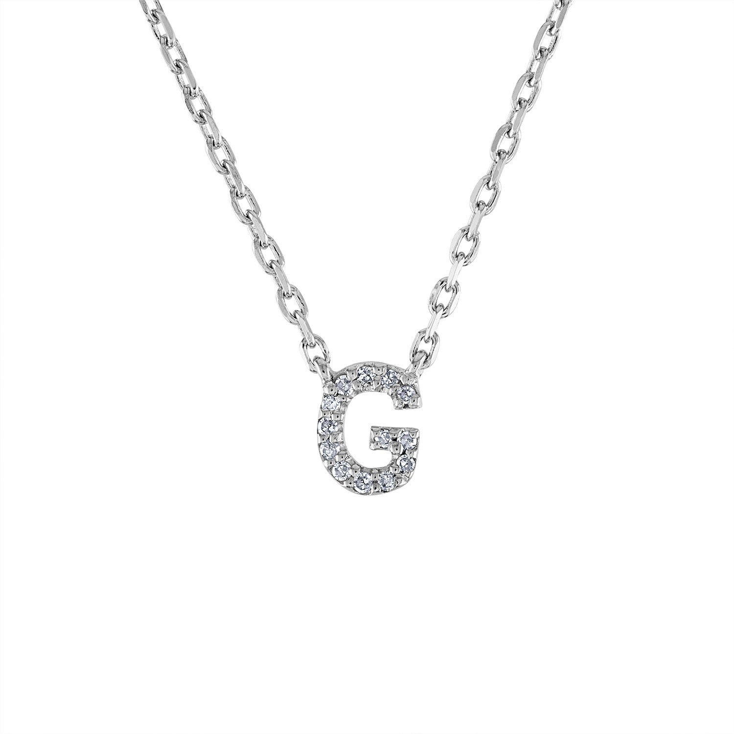 Sterling Silver diamond mini G initial necklace