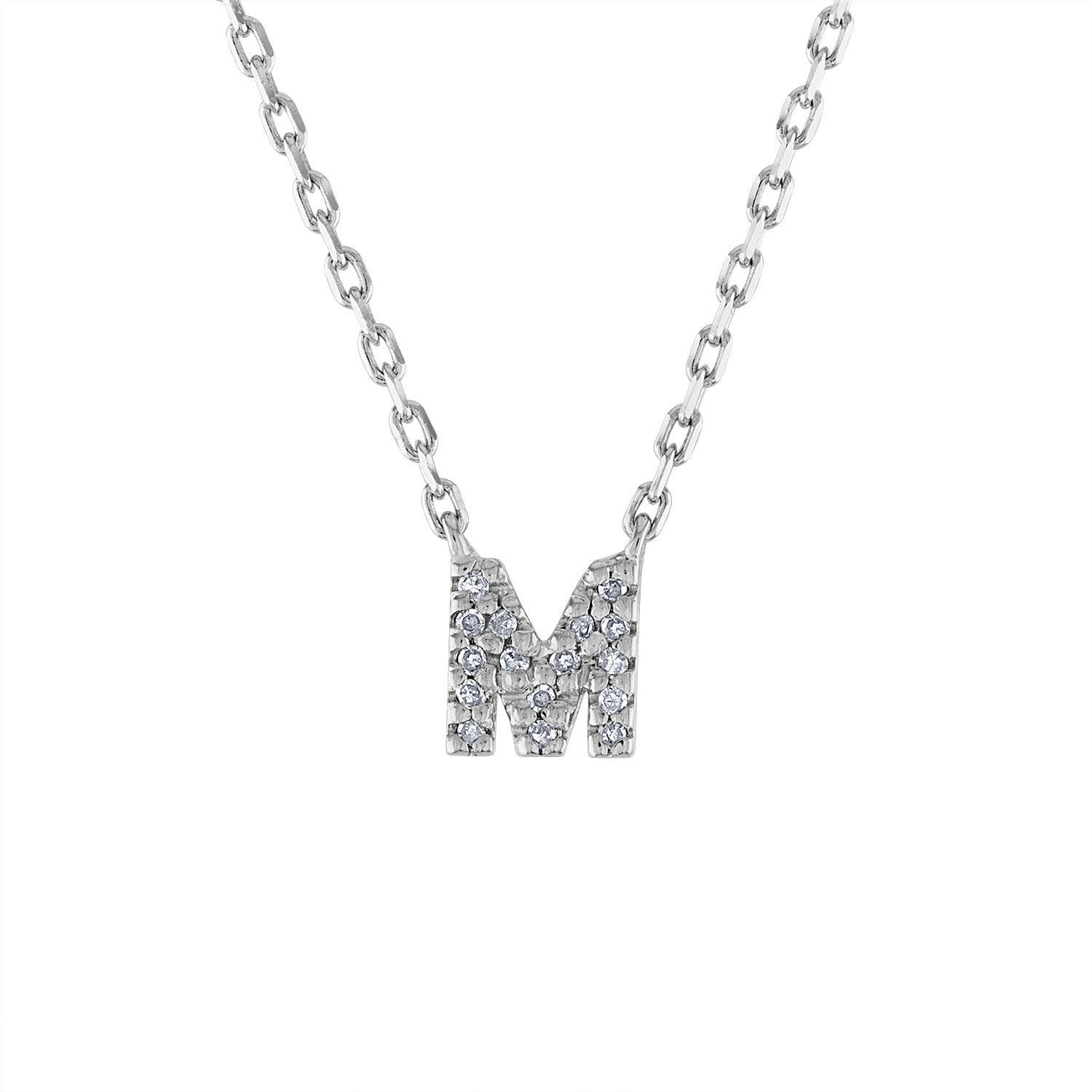 Sterling Silver diamond mini M initial necklace