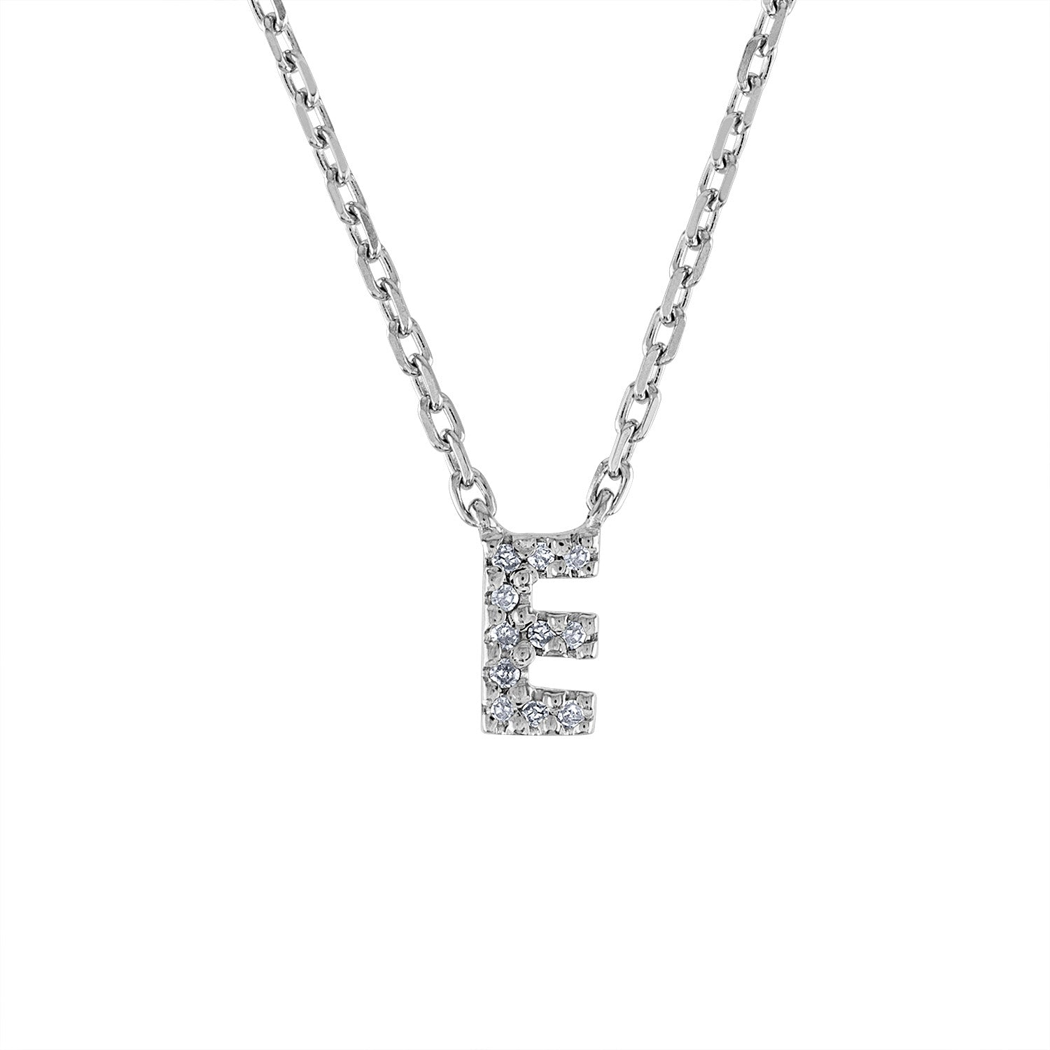 Sterling Silver diamond mini E initial necklace