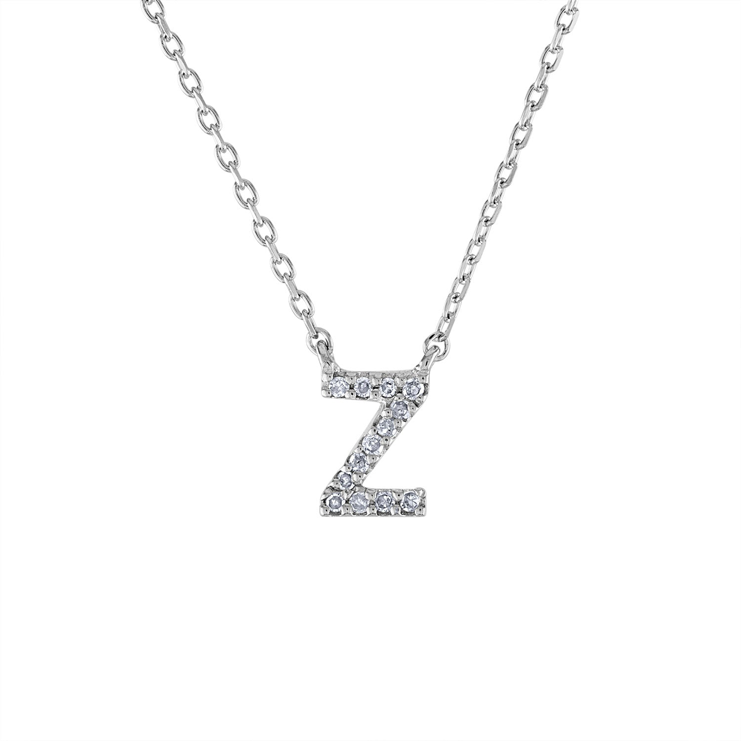 Sterling Silver diamond mini Z initial necklace