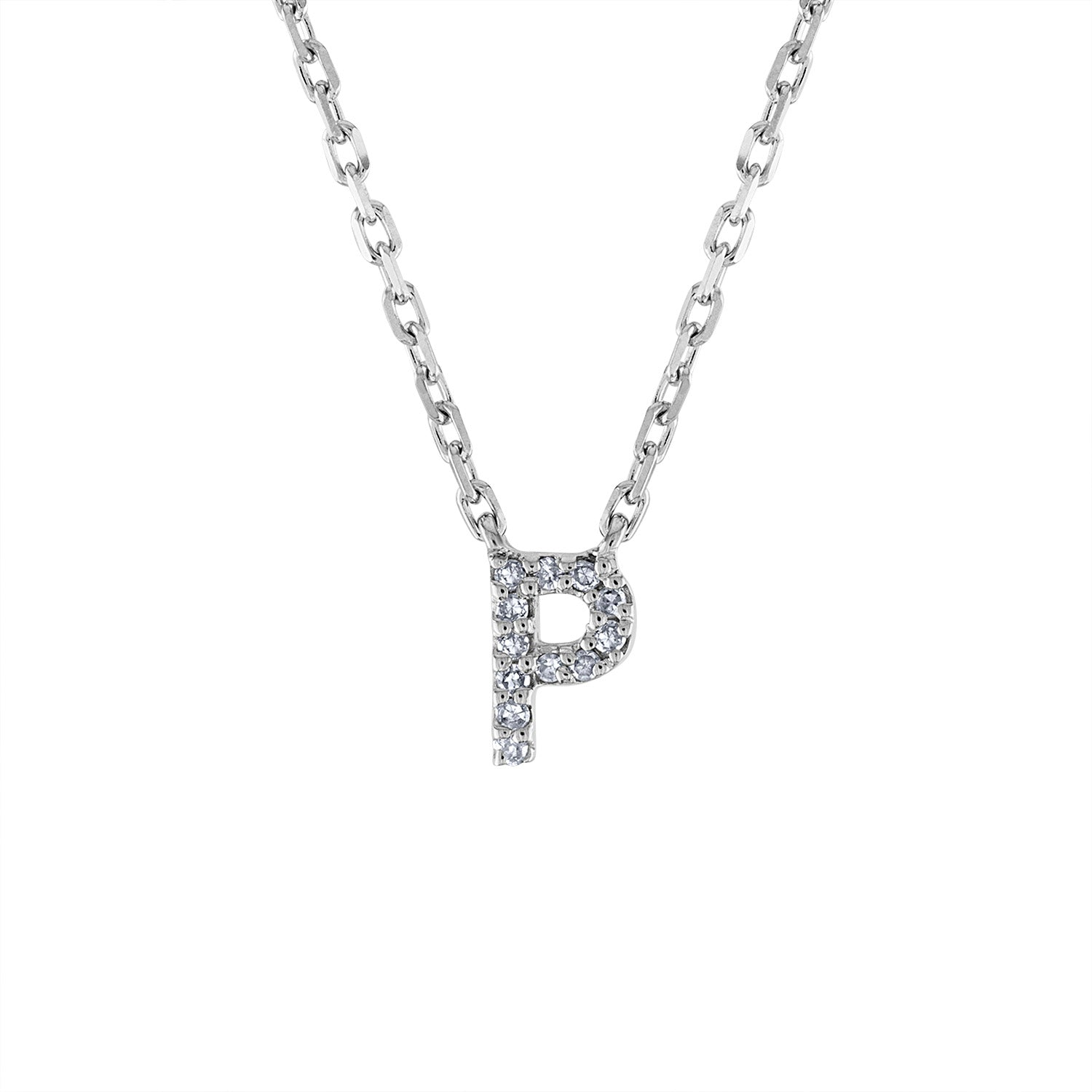 Sterling Silver diamond mini P initial necklace