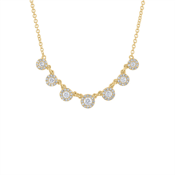 14KT GOLD SEVEN MARTINI SET DIAMOND NECKLACE
